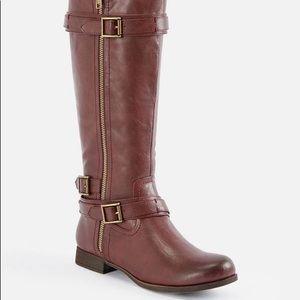 Burgundy Sweater Cuff Zip Boots